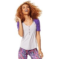 Zumba Womens Get Hyped Up Baseball Tee  Wear It Out White  Small