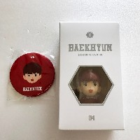 SM TOWN Gift Shop EXO Official Figure Key Ring + Limited EXO Mirror - Baekhyun