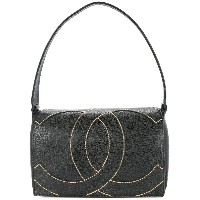 Chanel Vintage stitched logo shoulder bag - ブラック