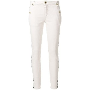 Just Cavalli leather stripe detail jeans - ヌード&ナチュラル