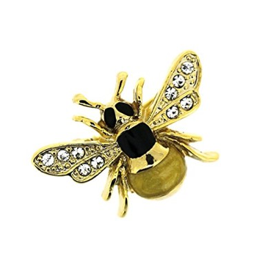 Crystal and Gold Plated Small Bee Brooch