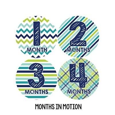 Months in Motion 003 Monthly Baby Stickers - Baby Boy - Months 1-12 - Milestone Sticker by Months...