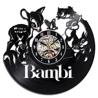 Bambi Vinyl Record Wall Clock - Decorate your home with Modern Large Disney Art - Gift for kids,...