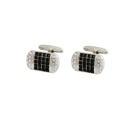 メンズカフスP.D.Man England Pillow Cufflinks with Black and White Crystals[並行輸入品]