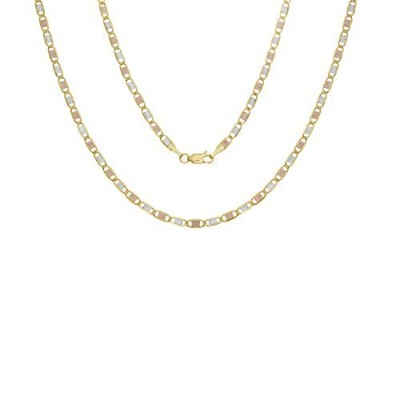 14 K tri-color-gold 2 mm Valentinoリンクチェーン、( 16 – 20インチ
