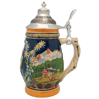 German Bier Fest Engraved Beer Stein with Ornate Metal Lid by Essence of Europe Gifts E.H.G
