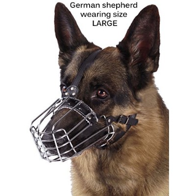 (L) - BronzeDog Wire Basket Dog Muzzle German Shepherd Metal Leather Adjustable