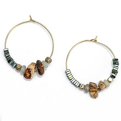anchilly HoopsドロップダングルイヤリングAdorned with Natural Stones、女性のジュエリーギフト天然石