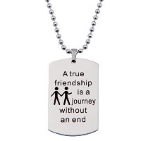 ensianth A True Friendship Is A Journey Without an End手刻印ネックレス犬タグネックレスの友人