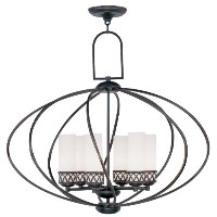 Livex Lighting 4726-67 Olde Bronze Chandelier with Satin White Glass by Livex Lighting