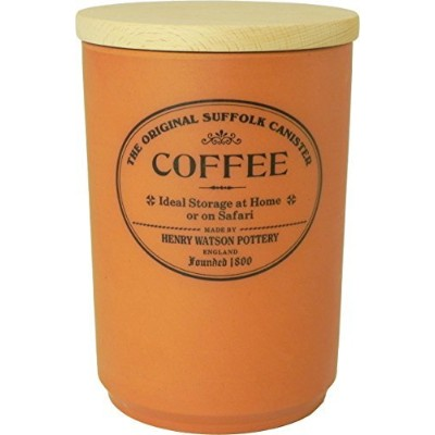 Largeセラミックコーヒーキャニスターwith Airtight Beech Lid Made in England