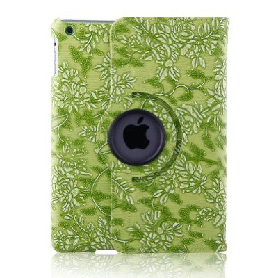 Topchances 360 Degrees Rotating Stand (Green embossed flowerss) Luxury Leather Case for iPad Air...