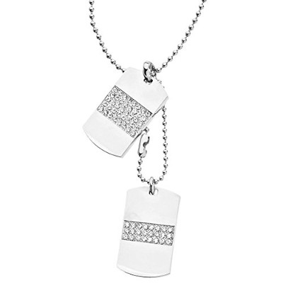 Iced Out Bling Ball Chain Dog Tag ペンダント - シルバー