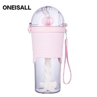 ONEISALL GYBL228 500ML 赤ちゃん用子供用ストローマグボトル通園幼稚園通勤ボトル水筒マグ (ピンク)