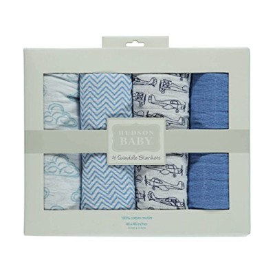 Hudson Baby Swaddle Blankets - blue, one size by Hudson Baby