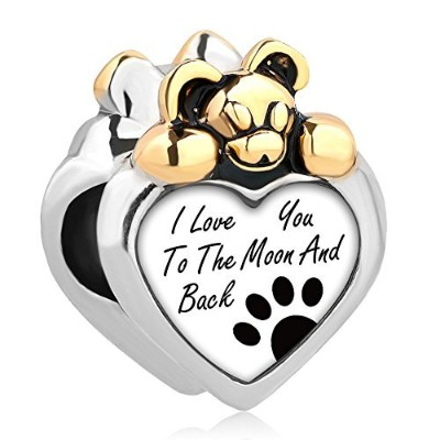 queencharms I Love You To The Moon And Back Teddy Bear Charm with Paw Printのブレスレット