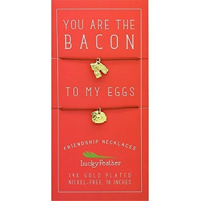 "Luckyフェザー"" You are the Bacon to My Eggs "" 14 K Gold Dipped友情ネックレス"