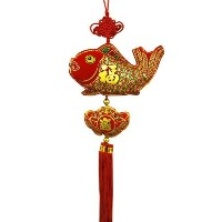 """Oriental Feng Shui Wall Hanging Wタッセル"""" Fu """" -fortune"""