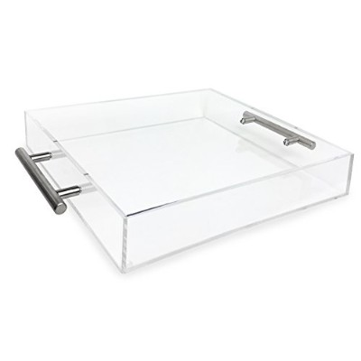 (12x12, Clear with Silver Handle) - Isaac Jacobs Clear Acrylic Tray with Handle (12x12, Clear with...