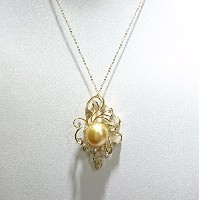 One&Only Jewellery 【鑑別書付】南洋 ゴールデンパール 12mm UP K18 デザイン ペンダント ネックレス 6月誕生石