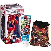 "Marvel 's Avengers "" Iron Man "" Inspired 4pcスーパーヒーローSmile Oral HygieneギフトセットIncludes歯ブラシホルダー、歯ブラシ..."