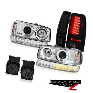 テールライト 03-06 Sierra 4.3L Foglamps Sinister Black LED Tail Lights Bumper Light Headlamps 03-06シエラ4...