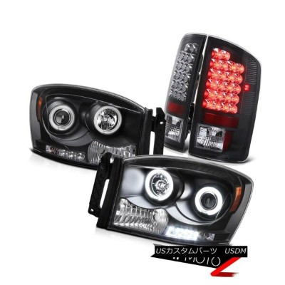 テールライト {BLACK COMBO 4PC} Dodge RAM 2007-08 CCFL Projector Headlight+LED Tail Light Lamp {BLACK...