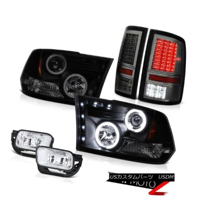 テールライト 09-13 Ram 1500 6.7L Tail Lights Foglights Dark Tinted Projector Headlamps SMD 09-13ラム1500 6...