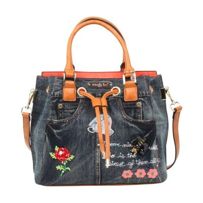 ニコルリー メンズ ショルダーバッグ バッグ Riley Denim Embroidery Bucket Shoulder Bag Denim Embriodery