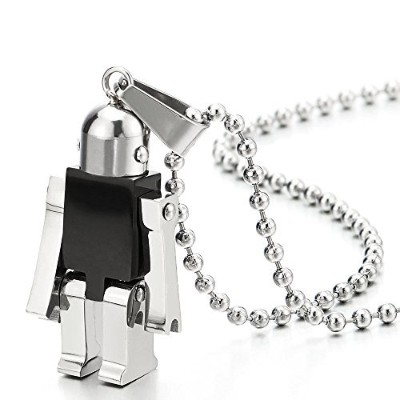 Moving Robot Pendant Necklace for Men Women Stainless Steel Black Silver with 60cm Ball Chain