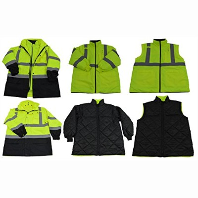 Petra Roc LBPJ6IN1-C3-2X Lime & Black Two Tone Waterproof 6-In-1 Parka Jacket Ansi Class 3 Light Weight Outer Jacket & Thermal Inner Inner Jacket Removable Hood44; 2X