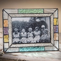J Devlin Pic 372フォトシリーズマルチColored Stained Glass Picture Frame with Clear Vintage Pale Aquaピーチと緑で使用可能...