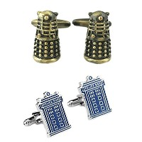 Doctor Who Dalek 2ペアブロンズSF TVシリーズ&ターディススーパーヒーロー2018 Wedding Groom Groomsmen Mens Boys Cufflinks