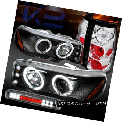 テールライト 99-03 Sierra Black Projector Headlights+Chrome Tail Lamps+Smoke LED 3rd Brake 99-03 Sierra...