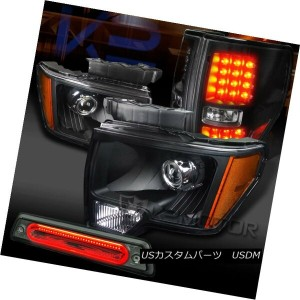 テールライト 09-14 F150 Black Projector Headlights+Black LED Tail Lamps+Smoke LED 3rd Brake 09-14...