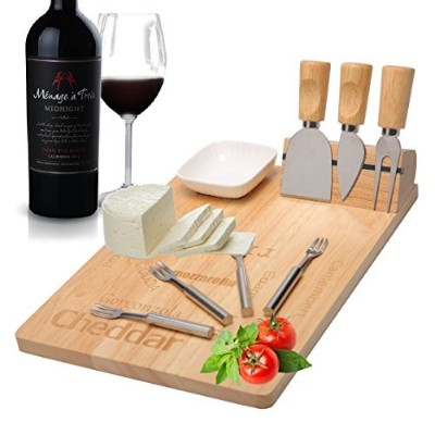 Cheese Board Set,Cheese Platter with Cutlery Knives Natural Oiled Wood, Cheese Platter With...