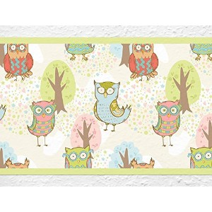 """i-love-wandtattoo b-10030保育園壁デカールBorder """" Colorful Owls """"壁紙ストライプガールズキッズ装飾 Height: 5.91""""; Width: 196..."""