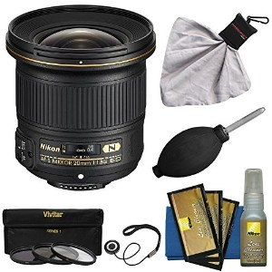 Nikon 20mm f/1.8G AF-S ED Nikkor レンズ with 3 UV/CPL/ND8 フィルタ + Nikon Cleaning キット for D3200, D3300,...