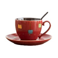 verdentalレトロドラム型セラミックコーヒーマグTea Cup Set with Spoon and Saucer レッド V-2021-C02