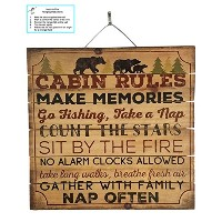 "(Cabin Rules) - Cabin Rules Distressed Wood Sign by Imprints Plus, 12"" x 12"" Rustic Home Decor..."