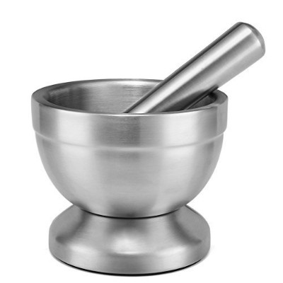 (12cm) - Flexzion Brushed Stainless Steel Mortar and Pestle Set - Solid Brushed Stainless Steel...
