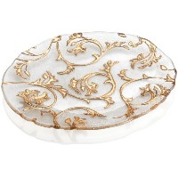 IVV Glassware Bisanzio Oval Platter、15–3/ 8by 13インチ、クリアwith Gold Decoration