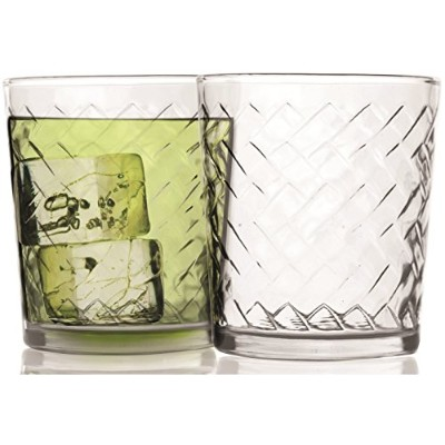 Circleware Riatte Double Old Fashioned Whiskey Drinking Glasses, Set of 4, 380ml