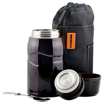 (Midnight Blue) - Udyr Vacuum Insulated Stainless Steel Food Jar with folding spoon BPA Free,...