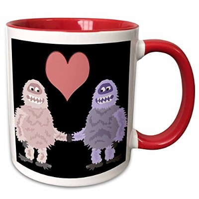 3drose All SmilesアートLove–Funny Cute Abominable Snowman and Snowwoman in Love–マグカップ 11-oz Two...