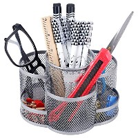 (Silver) - Rotating Mesh Metal 7 Compartment Desktop Office Supplies Storage Organiser Caddy, Silver