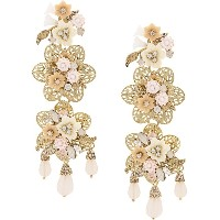 Marchesa Notte floral earrings - イエロー&オレンジ