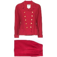 Chanel Vintage double-breasted skirt suit - レッド