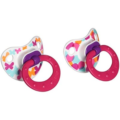 NUK Baby Talk Puller Pacifier in Assorted Colors and Styles, 0-6 Months by NUK