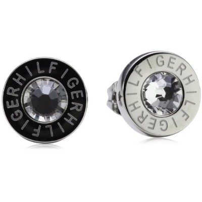 [女性向けイヤリング]Tommy Hilfiger Women's Stainless-Steel Stud Earrings with Etched HILFIGER and Clear...